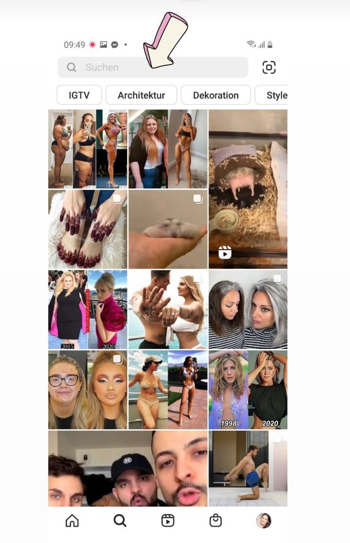 Suchleiste in der Instagram App