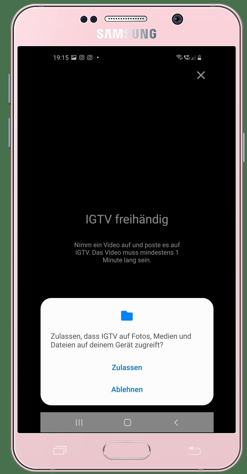 Selbstaufnahme IGTV