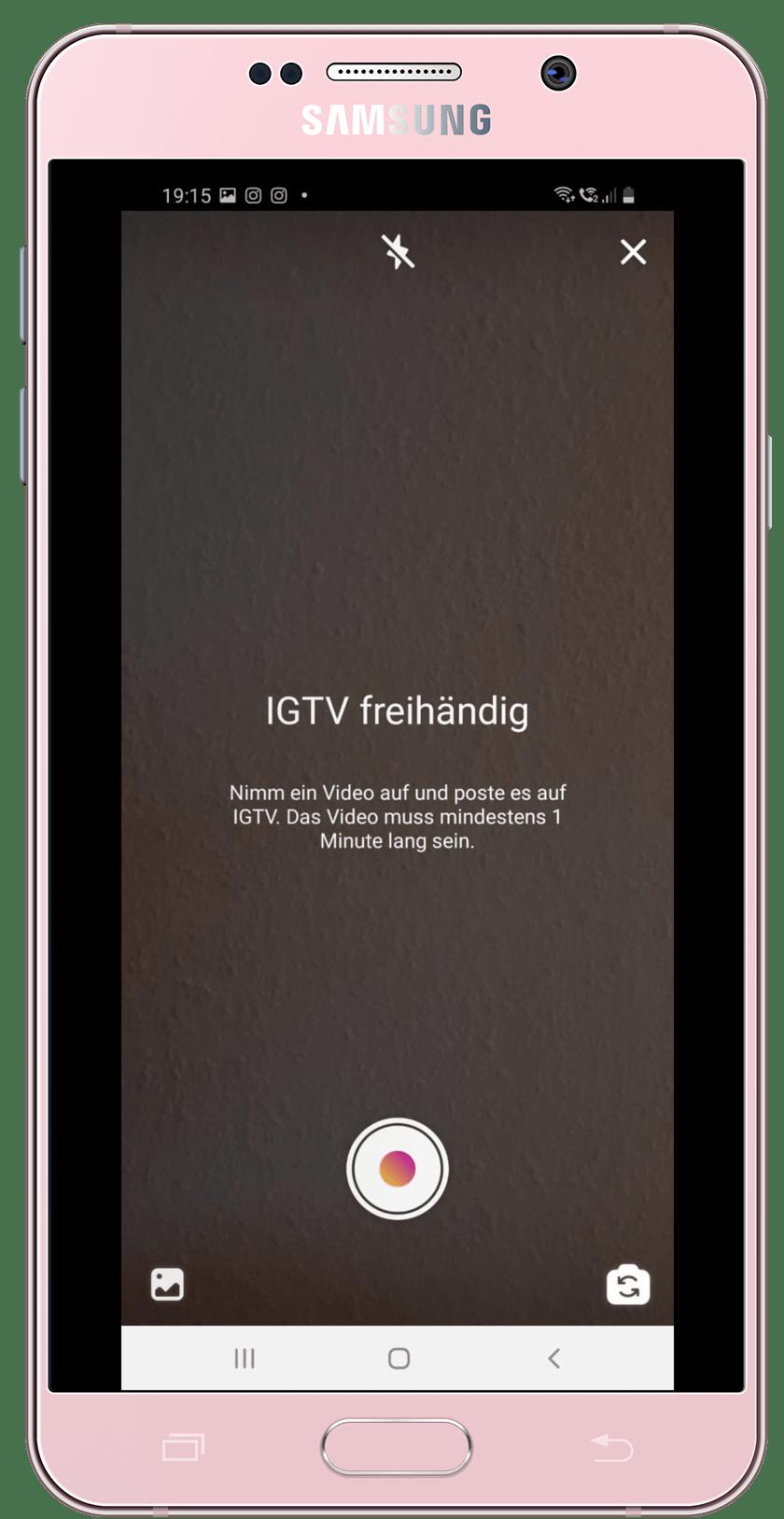 Selbstfilmung IGTV App